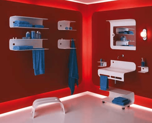 Modern Red Bathroom
