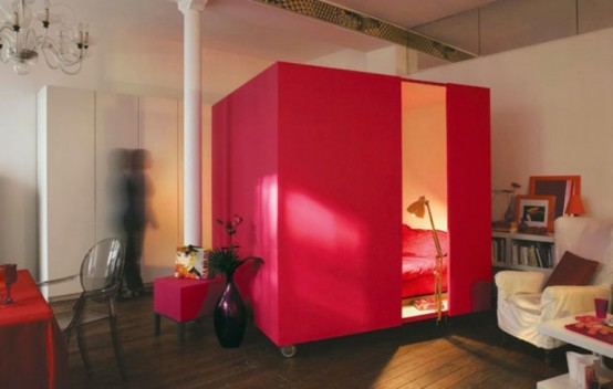 Modern Red Cube0bedroom To Keep Your Privacy