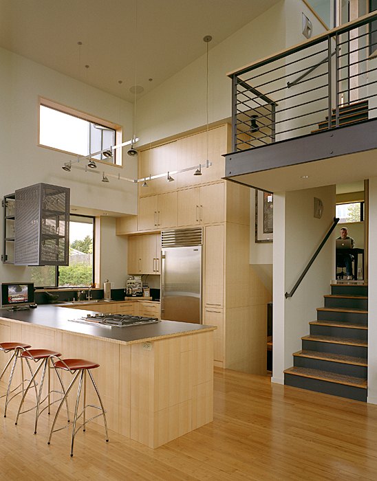 Modern remodel of the post war split level house into a for Split level open floor plan remodel