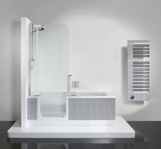 modern shower and tub unit in one digsdigs. Black Bedroom Furniture Sets. Home Design Ideas
