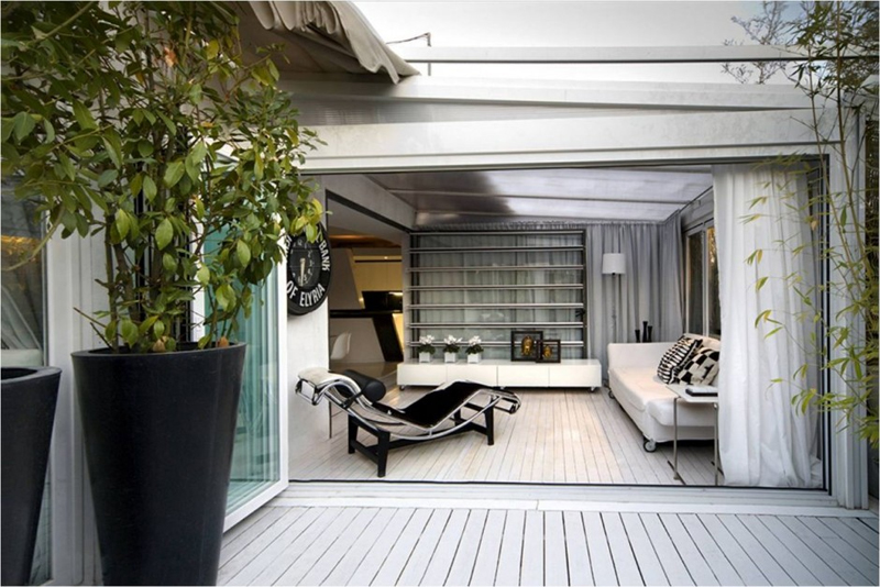 Modern Interior Design Of Small Spanish Penthouse With Large Terrace