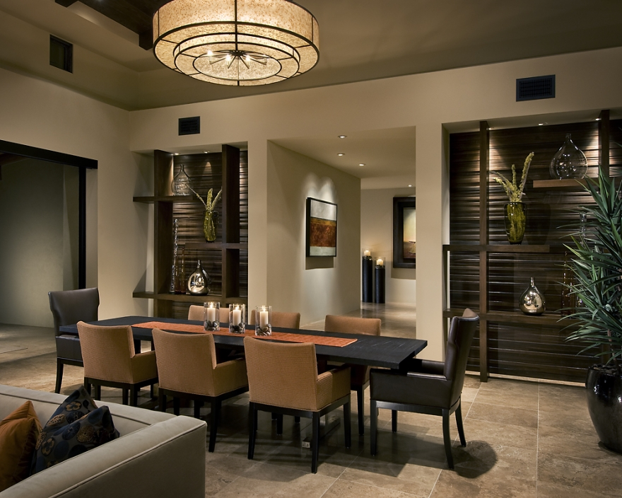 Modern spanish traditional interior design by ownby for Designer dining room suites