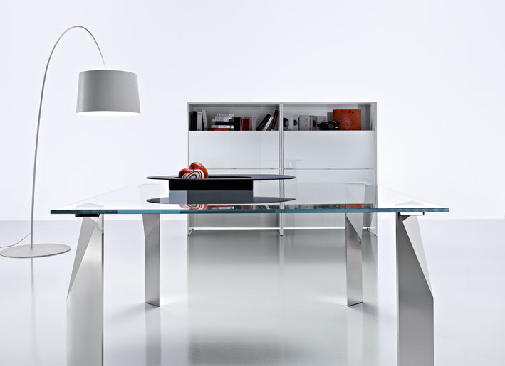 Simple Contemporary Table Inspired By Paper U A From Kreaty   Modern Home  Office Glass Desk