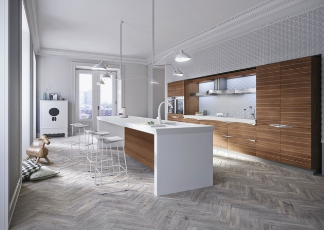 Picture Of modern time kitchen that incorporates linear aesthetic  1
