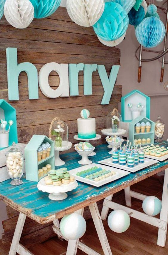 modern turquoise dessert table for a boy baby shower