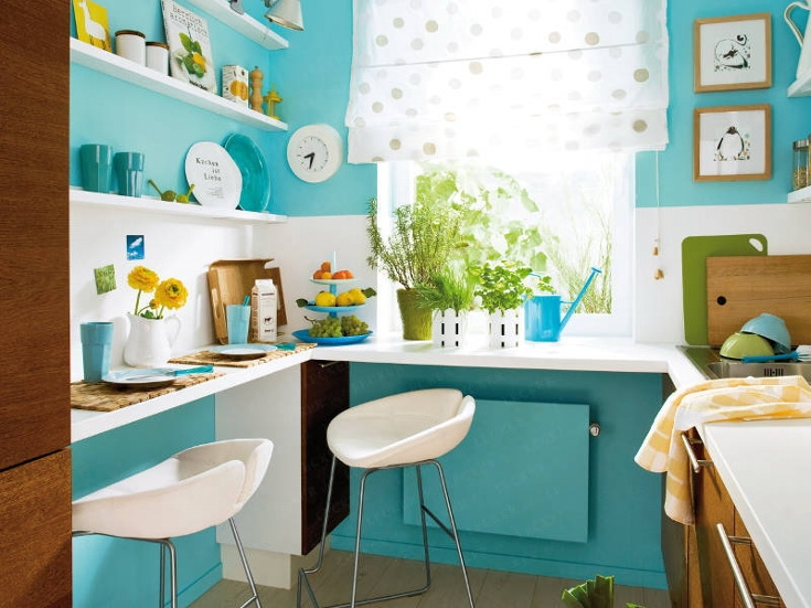Modern Turquoise Kitchen Design With Space-Saving Solutions