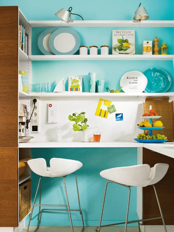 Modern Turquoise Kitchen With Space Saving Solutions