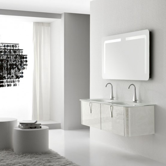 Modern White Wall Mounted Washbasin Cabinet