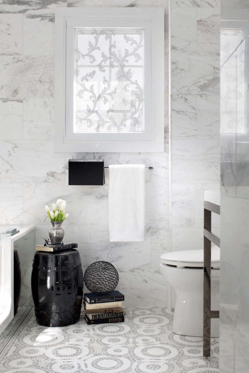 delicate white botanical staining on a window will keep the space private and will still let light inside