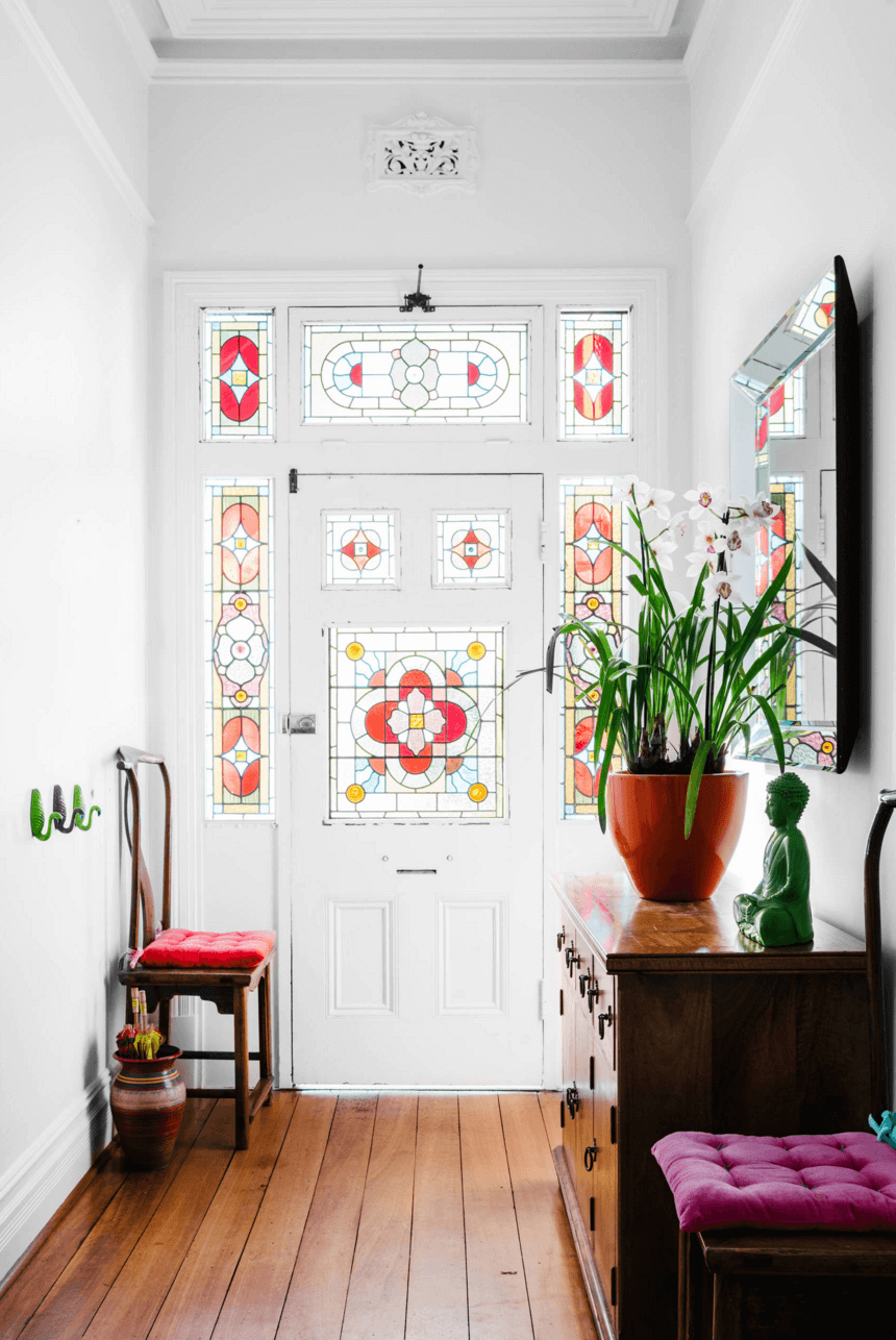 stained glass entry doors are a lovely and out of the box solution with a strong refined vintage feel