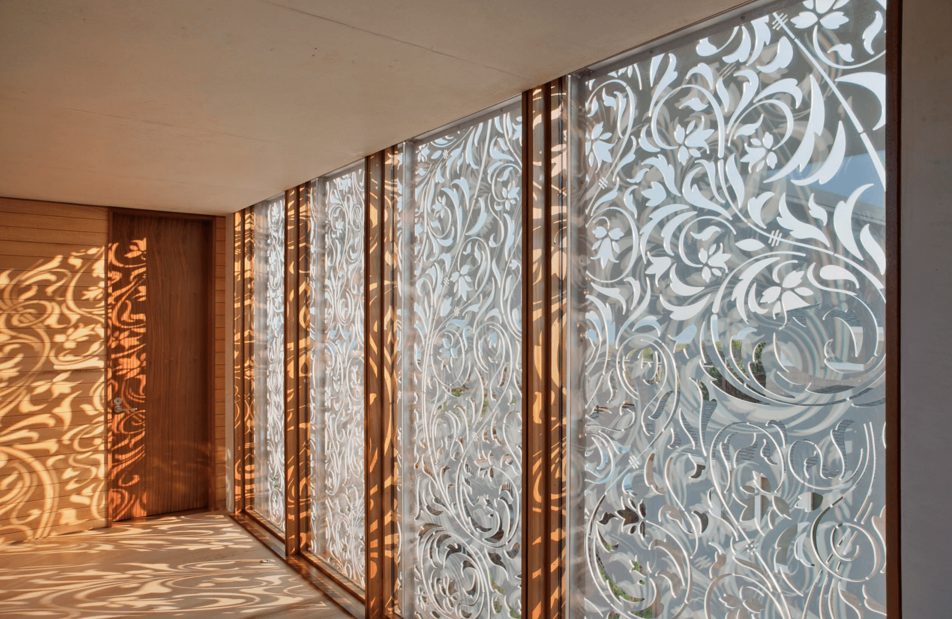 beautiful aluminum screens like these ones will add chic to both indoors and outdoors keeping the spaces private enough