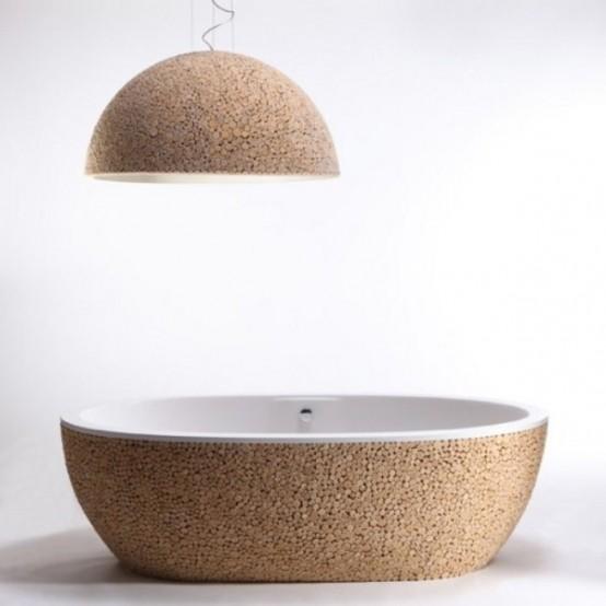 Modern Wooden Beautifully Decorated Bathtub
