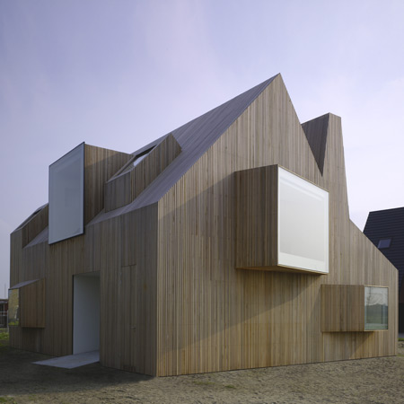 Modern Wooden House Design with Original Shape