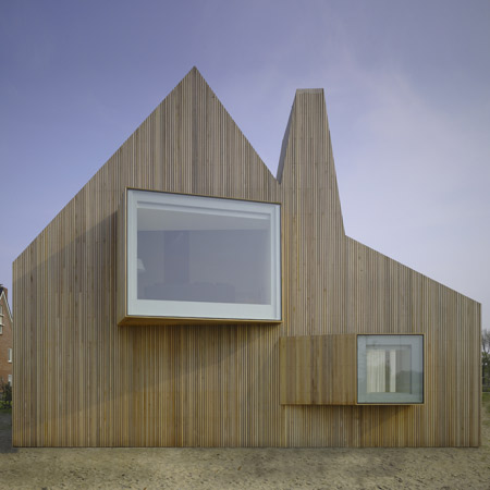 Modern Wooden House Design with Original Shape - DigsDigs