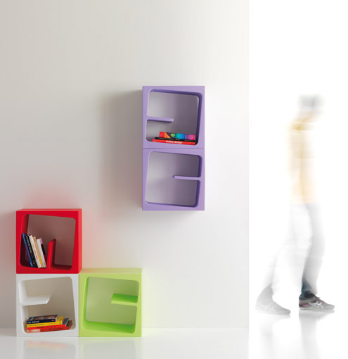 Modular Versatile Bookcase in Catchy Colors – Quby by B-Line