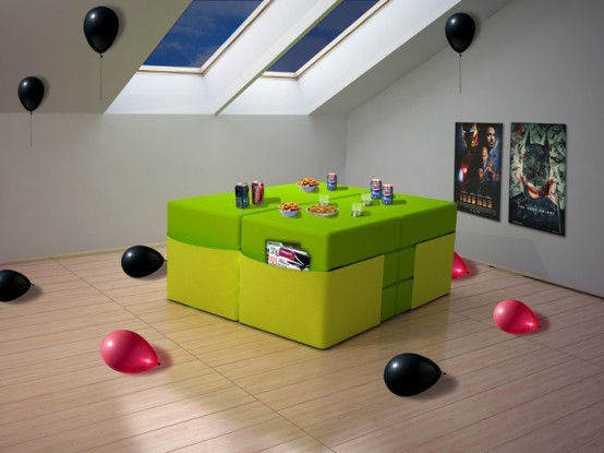 Modular Furniture Set for Multi-Purpose Use in Small Spaces ...