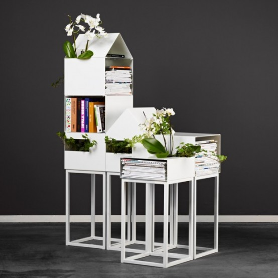 Modular Shelves For Books And Plants