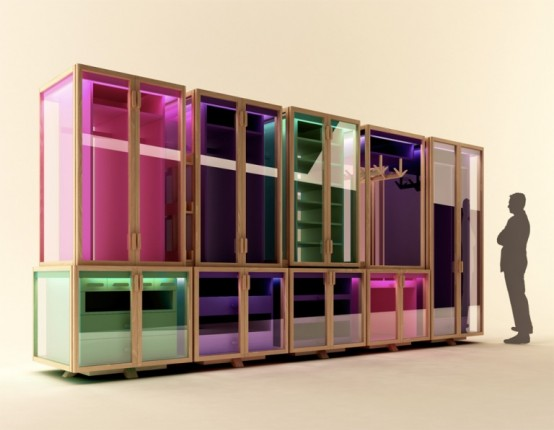 Modular Transparent Clothing Storage System