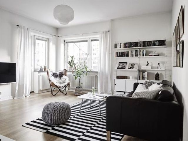 monochromatic living room with Stockholm rug