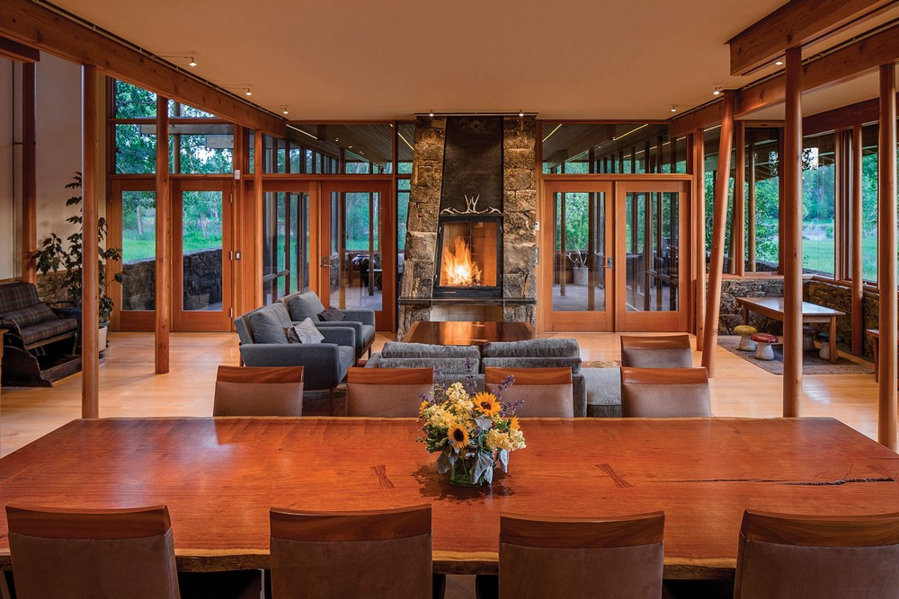 Montana Glass Home With Lots Of Wood In Decor
