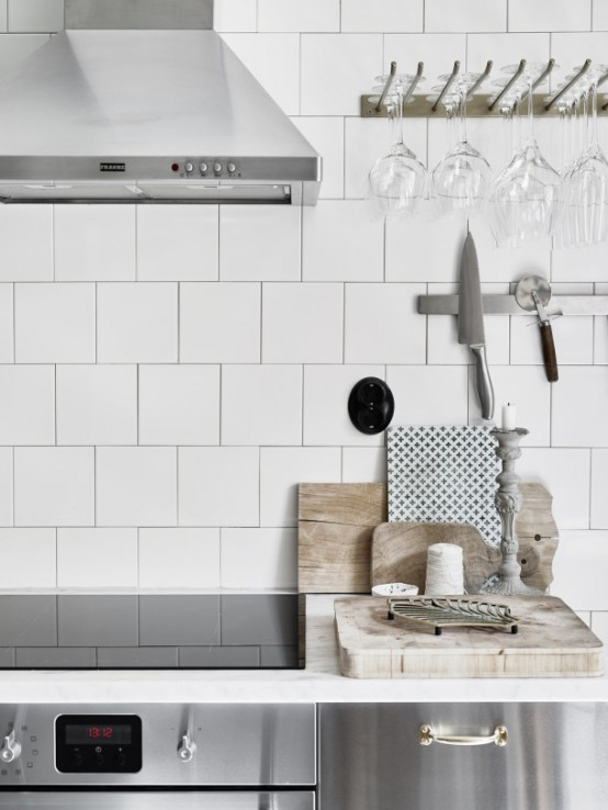 Moody Floral Scandinavian Kitchen Design With Copper Accessories