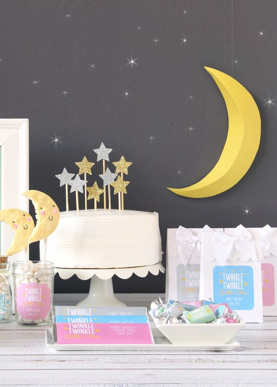 moon and stars  gender neutral baby shower