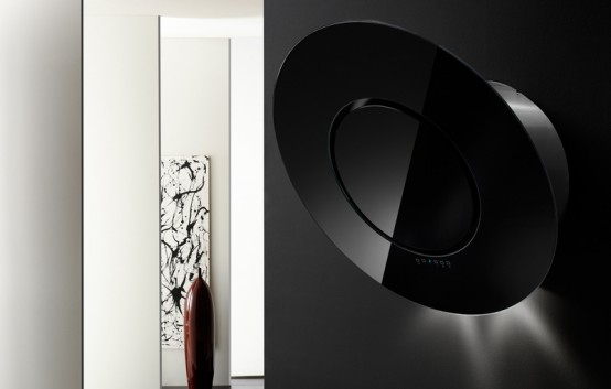 Rounded Modern Black Wall Range Hoods by Airone