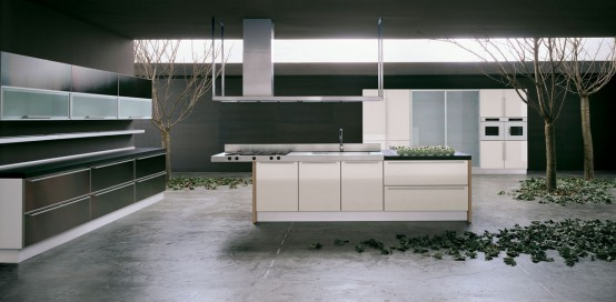 Futura kitchen cabinets by moretuzzo digsdigs for Brushed aluminum kitchen cabinets