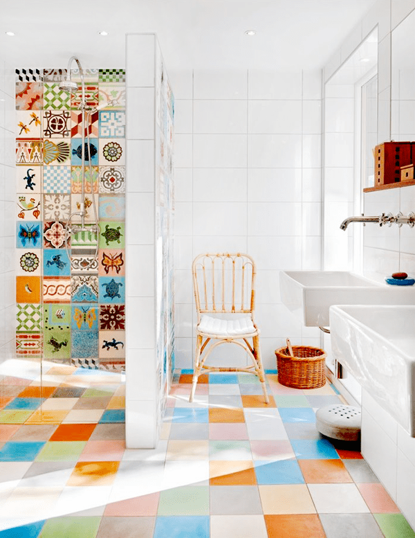 Multi Colored Tiled Bathroom Designs