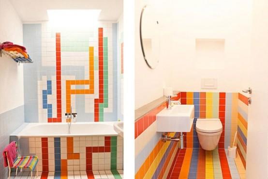 Дизайн яркого туалета