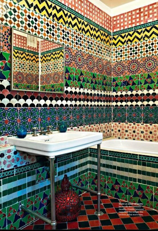 Multi Colored Tiled Bathroom Designs