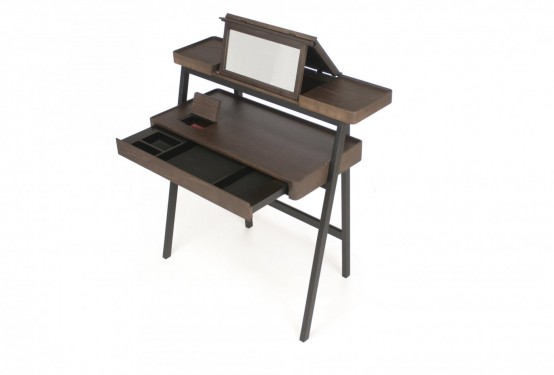 Multifunctional Desk And Vanity Of Two Stacking Trays