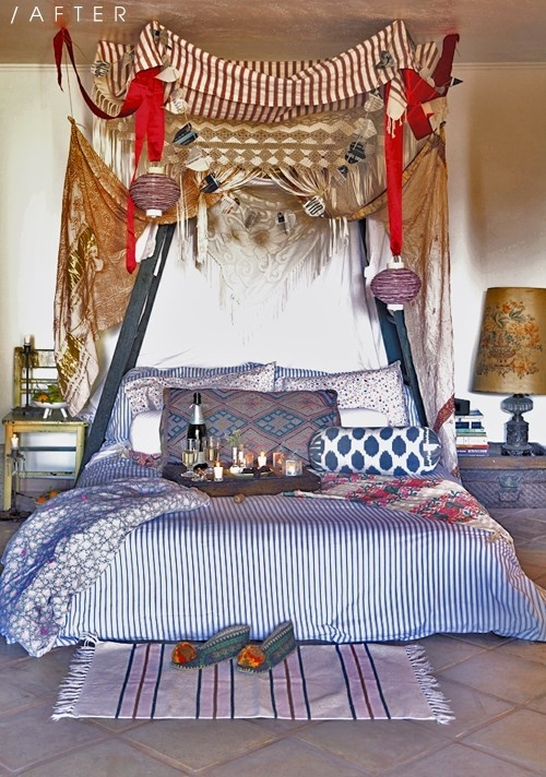 bright textiles, colorful lanterns on ribbons and vintage items to create an Eastern feel in the bedroom