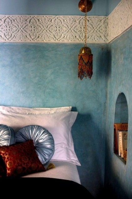 a hanging bed lantern, beautiful pattern on the wall for a Moroccan feel