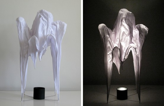 Mysterious Pina And Misha Lamps Of Hardened Fabric