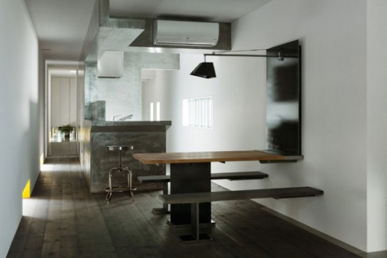 Narrow Urban Home With Industrial Minimalist Interiors Digsdigs