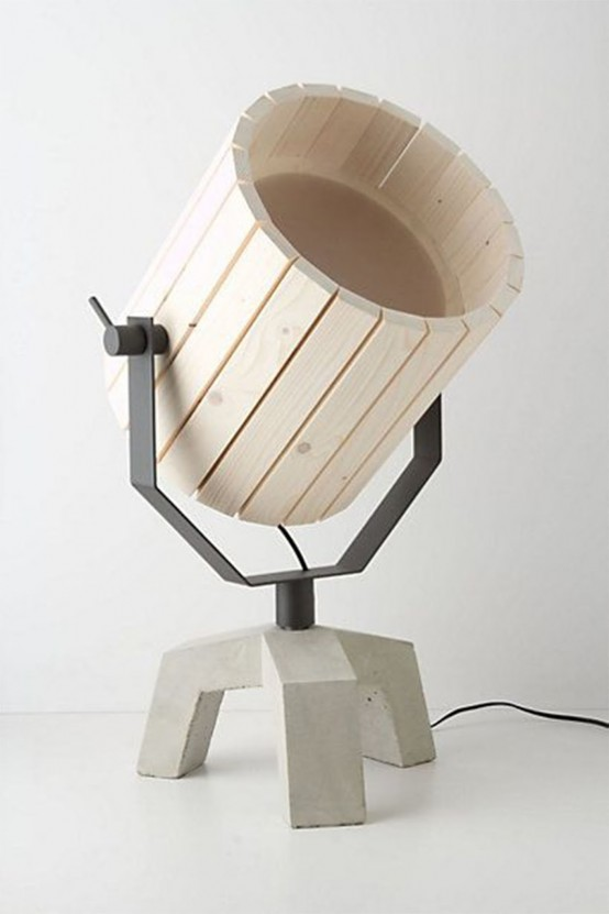 Natural Barrel And Baby Barrel Lamps From Wood And Concrete