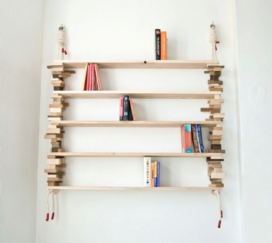Natural Bookshelves Made Of Mixed Wood Blocks