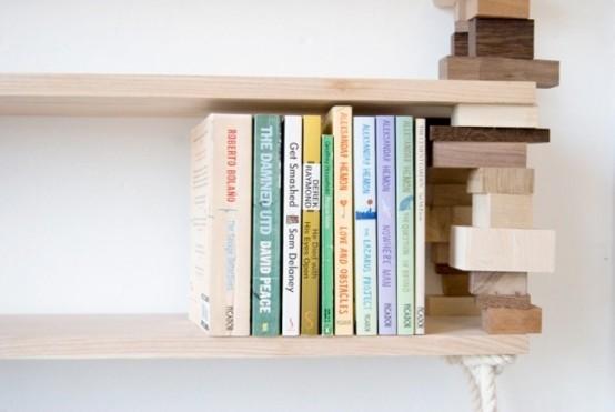 Natural Bookshelf Of Mixed Wood