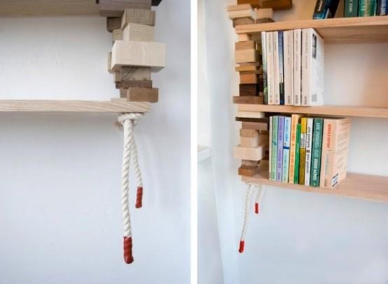Natural Bookshelves Made Of Mixed Wood Blocks