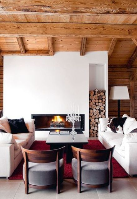 35 natural chalet living room designs digsdigs for Poutre decorative plafond
