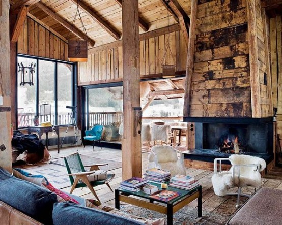 Natural Chalet Living Room Designs