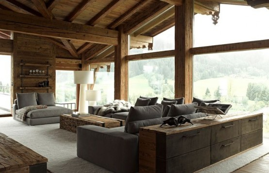 35 natural chalet living room designs digsdigs. Black Bedroom Furniture Sets. Home Design Ideas