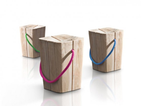 Natural Stool Of Teak With A Colorful Accent