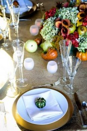 bright blooms, fruits and faux veggies will give you a great rustic or just natural Thanksgiving tablescape to enjoy