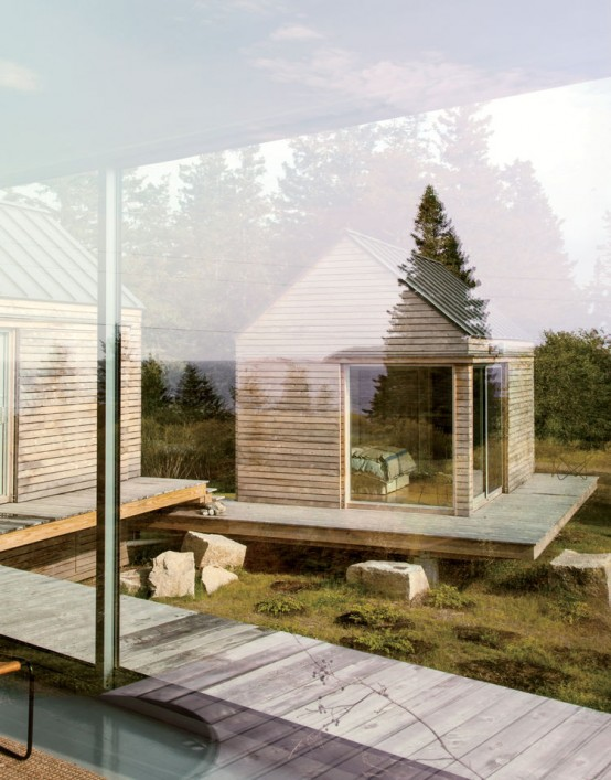 Natural Vacation Escape Of Three Wooden Cabins
