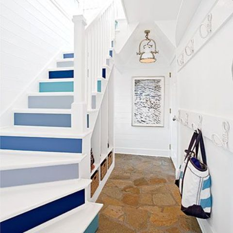 a nautical staircase with grey and blue steps in various colors - such backing can be done with simple sticky paper
