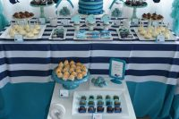 navy dessert table  for a boy baby shower