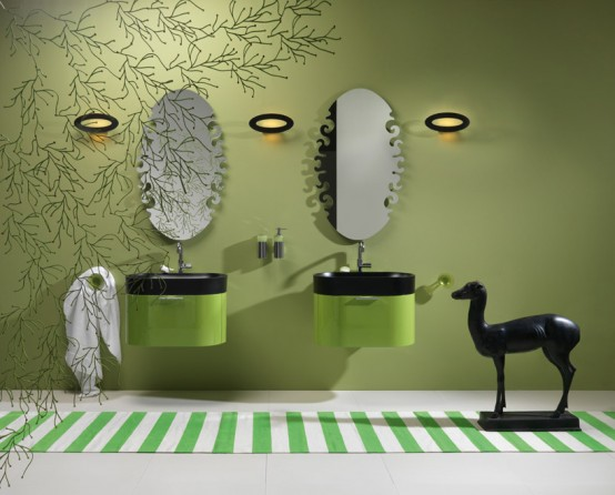 Nero Washbasin With Green Bathroom Furniture Regia