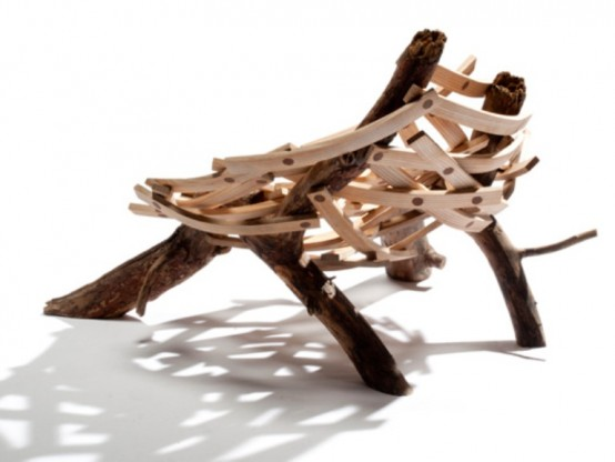 Nest-Shaped Chair Of Rough Wood